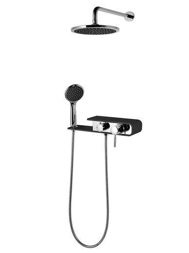 Shower set Corsan CMN001 chrome / black
