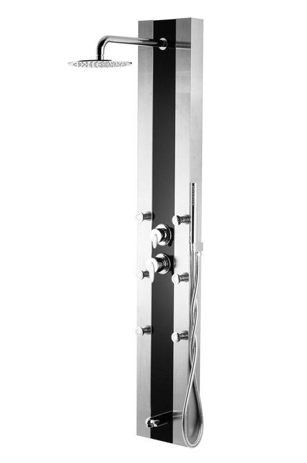 Panel prysznicowy Corsan Araga S011 z wylewką i czarnym szkłem