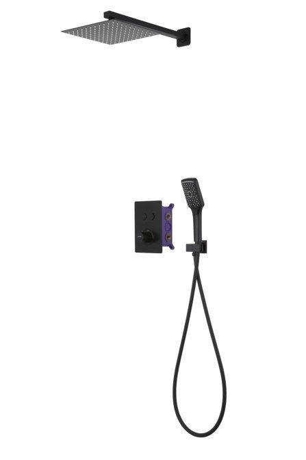 Prysznicowy zestaw podtynkowy Corsan 646994 czarny z termostatem